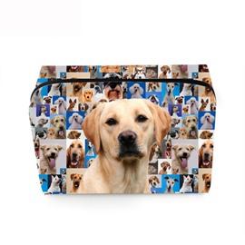 3D Portable Labrador Printed PV Cosmetic Bag