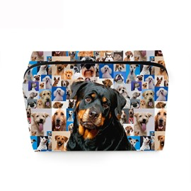 3D Portable Black Rottweiler Printed PV Cosmetic Bag