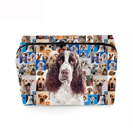 3D Portable White and Brown Hound Printed PV Cosmetic Bag