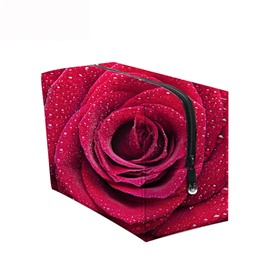 3D Portable Red Rose with Waterdrops Printed PV Cosmetic Ba