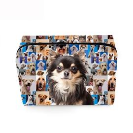 3D Portable Black Chihuahua Printed PV Cosmetic Bag