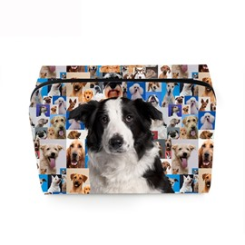 3D Portable Black and White Mastiff Printed PV Cosmetic Bag