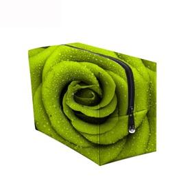 3D Portable Rose Printed PV Green Cosmetic Bag