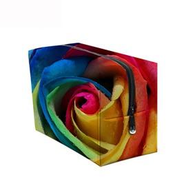 3D Portable Colorful Big Rose Printed PV Cosmetic Bag