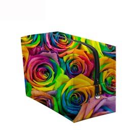 3D Portable Colorful Roses Printed PV Cosmetic Bag