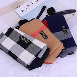 Plaid Stitching Ladies Canvas Cosmetic Bag