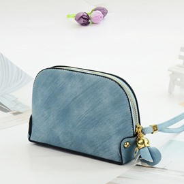 Easy Matching Solid Color Simple Lady Hand Take Cosmetic Bag