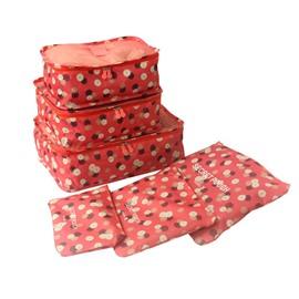 6Pcs Pink Multi-Functional Waterproof Travel Storage Bags Luggage Organizers