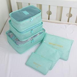 6Pcs Light Blue Multi-Functional Waterproof Travel Storage Bags Luggage Organizers