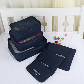 6Pcs Dark Blue Thickening Multi-Functional Waterproof Travel Storage Bags Luggage Organizers