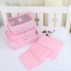 6Pcs Light Pink Thickening Multi-Functional Waterproof Travel Storage Bags Luggage Organizers