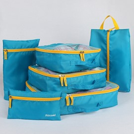 Light Blue Multi-Functional 6Pcs Travel Luggage Organizers with Shoes Bag and Makeup bag