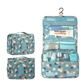 Blue Daisy Hanging Toiletry Bag Cosmetic and Makeup Travel Organizer