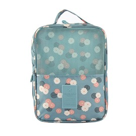 Blue Daisy Printing Travel Waterproof Shoe Bag Organizer Storage for 3 Pairs of Shoes