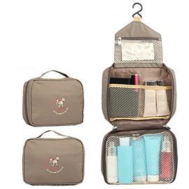 Grey Waterproof Oxford Cloth Hanging Toiletry Bag Travel-Mall Makeup Organizer