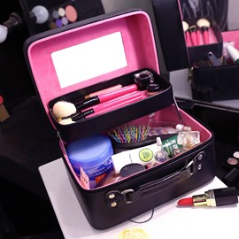 Solid Color PU Cosmetic Travel Carrying Case with Mirror