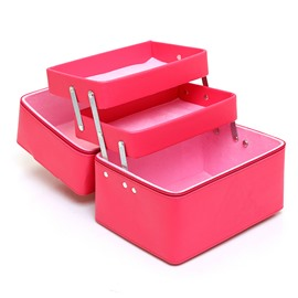 Rose Pink 3-Layer PU Travel Cosmetic Bags with Zipper