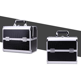 Black 3-Tier Trays PVC Cosmetic Bags With Lock