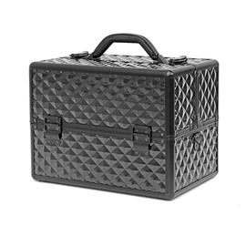 Black Diamond Pattern Portable 3-Tier Accordion Trays Makeup Case with Shoulder Strap