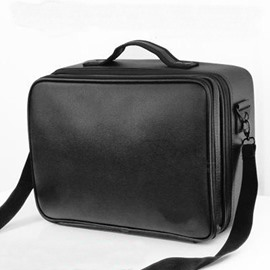 Black PU Professional Travel Makeup Organizer Bag