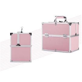 Pink PVC Makeup Cosmetic Jewelry Storage Case Box