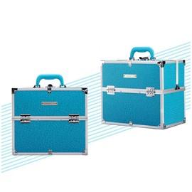 Blue PU Makeup Cosmetic Jewelry Storage Case Box