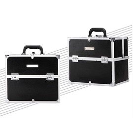 Black PU Makeup Cosmetic Jewelry Storage Case Box