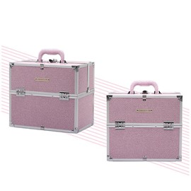 Pink Rhinestone PVC Makeup Cosmetic Jewelry Storage Case Box