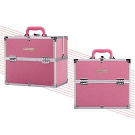 Pink PU Makeup Cosmetic Jewelry Storage Case Box