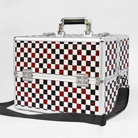 Red and Black Lattice Printed Professional Portable Cosmetic Case
