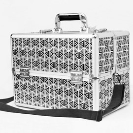 Triangle Printed PU Professional Portable Cosmetic Case