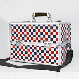 Red and Blue Lattice Printed Professional Portable Cosmetic Case