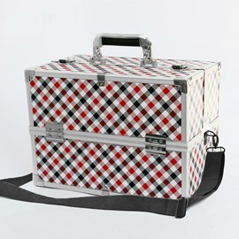 Red and Black Stripes Printed  Professional Portable Cosmetic Case