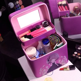 Purple Lovely Girl Printing 2-Layers Multipurpose Cosmetic Case