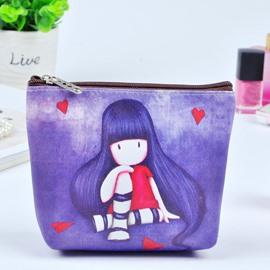 Purple Long Hair Girl Painting Women Makeup Bag Coin Wallet Purse