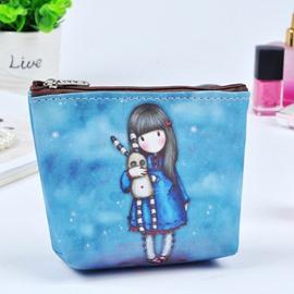 Blue Cartoon Girl Painting Women Makeup Bag Coin Wallet Purse