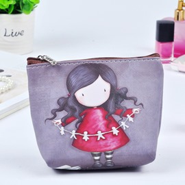 Cartoon Cute Girl Painting Women Makeup Bag Coin Wallet Purse