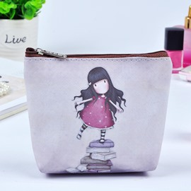 Lovely Girl Painting Women Makeup Bag Coin Wallet Purse