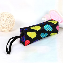 Black Heart-Shaped Pattern Pen Pencil Case Coin Purse Cosmetic Bag