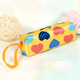 Yellow Heart-Shaped Pattern Pen Pencil Case Coin Purse Cosmetic Bag