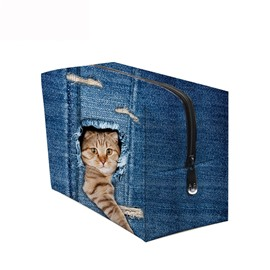3D Portable Cat With Paw Stretched Out Printed PV Dark Blue Cosmetic Bag