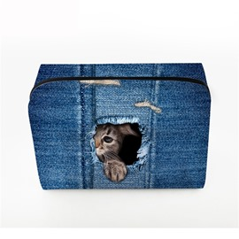 3D Portable Shy Cat Printed PV Dark Blue Cosmetic Bag
