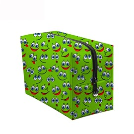 3D Portable Smiling Faces with Big Eyes Printed PV Green Cosmetic Bag