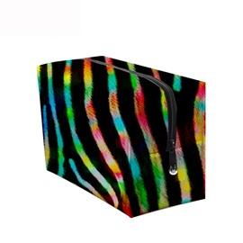 3D Portable Colorful Stripes Printed PV Black Cosmetic Bag