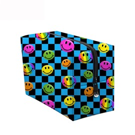 3D Portable Smiling Faces Printed PV Blue Cosmetic Bag