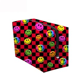3D Portable Smiling Faces Printed PV Red Cosmetic Bag