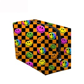 3D Portable Smiling Faces Printed PV Yellow Cosmetic Bag