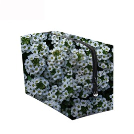 3D Portable White Flowers Printed PV Cosmetic Bag