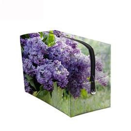 3D Portable Purple Lilacs Printed PV Cosmetic Bag