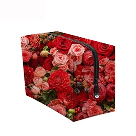 3D Portable Red and Pink Roses Printed PV Cosmetic Bag